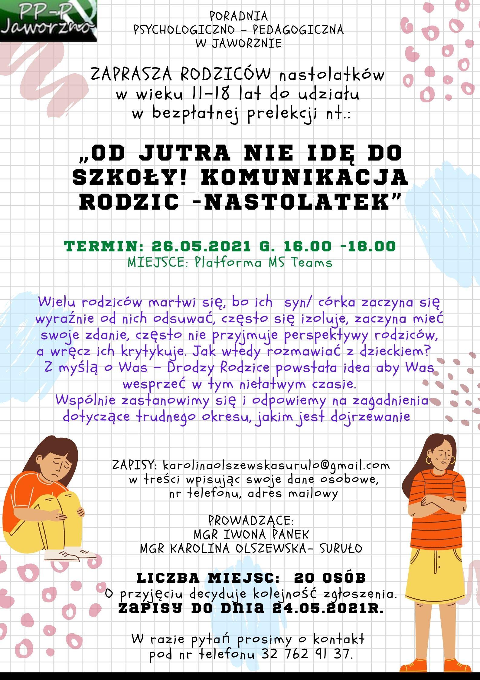 Prelekcja dla rodziców - plakat